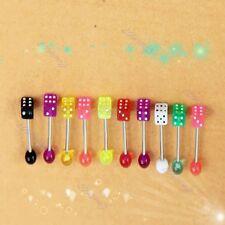 10pcs Fashion Dice Lip Ear Bone Bar Stud Chin Tongue Ring Body Piercing Jewelry