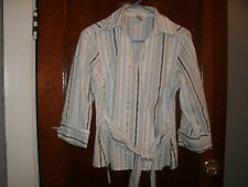 Pursuits,ltd.ladies white stripped long sleeve blouse size 10