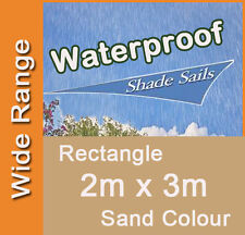 Waterproof Shade Sail Sand Colour Rectangle 2m x 3m, 2x3m, 2 x 3m, 2 by 3m 2mx3m