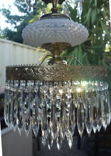 Vintage hanging Swag brass tole Fenton opaline opalescent Glass Crystal Lamp