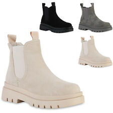 Damen Leicht Gefütterte Plateau Boots Profil-Sohle Schuhe 837886 Trendy Neu