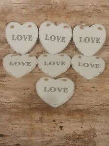 Qty 7 x Wooden Heart Hanging Plaque Love shabby chic/ distressed wedding bundle