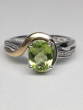 New 10K White and Yellow Gold Oval Shape Natural Peridot and Diamond Ring Size 7