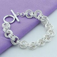 Chain Women Jewelry Fashion Buckle New Men Bangle Bracelet Silver Plated Charm