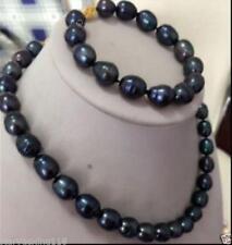 8-9MM Natural Black Freshwater Pearl Necklace Bracelet Set
