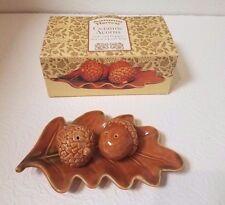 Autumn Harvest Ceramic Acorns Salt And Pepper Shakers On A Leaf Tray Nib