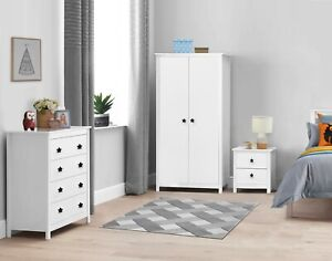 Kids Bedroom Furniture Trio Set Wardrobe Drawers Nightstand Bedside Baby Nursery