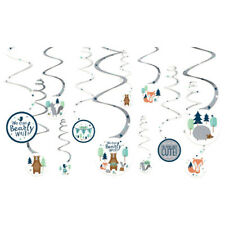 BABY SHOWER Bear-ly Wait SWIRL DECORATIONS (12) ~ Party Supplies Cutouts Boy