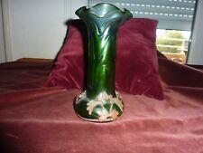 vase art nouveau verre irisé monture cuivre rouge H 20 cm