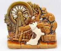 Vintage McCoy Pottery Spinning Wheel with Scotty Dog and Cat Planter