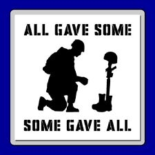 9 X 9 Kneeling Soldier Memorial STENCIL Quote: Some Gave All USA/Military/Memory