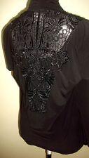 Saint Tropez West Faux 2-Piece Lace Back Black Open CardiganTop-Size Medium