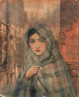 FEMALE PORTRAIT IN STREET Antique Watercolour Painting c1920