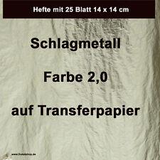 Schlagmetall F 2.0 TRANSFER 250 Blatt= 10 Hefte 16x16 cm (Blattgold,Blattmetall)