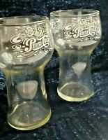 2 Vintage PEPSI COLA Clear Glasses CUPS MUGS TUMBLERS DRINKING EMBOSSED Perfect