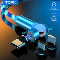Topk 540° Rotate  Led Glowing Flowing Magnetic Cable for iPhone Type C Micro USB