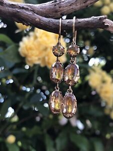 Antique Georgian citrine and yellow sapphire gold drop earrings