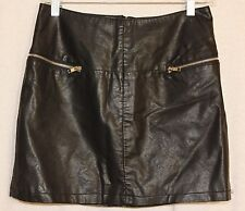 FOREVER 21 Size Medium Faux Leather Mini Skirt Black Zipper Pockets Lined As Is