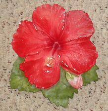vintage 1940-50s chalkware hibiscus flower wall plaque hawaii hawaiian pua nani