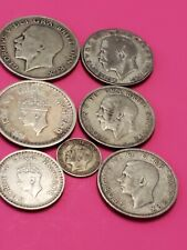 British silver coins,1 half crown,1 Rupee,1 half rupee,1 florin,2 two shill,1 3p
