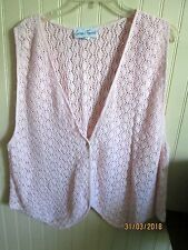 COTTON FOREVER   LADIES SIZE L  KNIT  VEST CROCHET TYPE  PINK