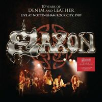 SAXON - 10 YEARS OF DENIM AND LEATHER LIVE IN NOTTINGHAM 1989 2 VINYL LP NEU