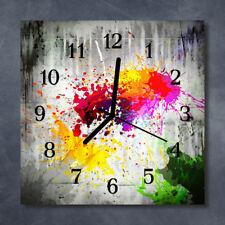 Glass Wall Clock Kitchen Clocks 30x30 cm silent Blots Multi-Coloured