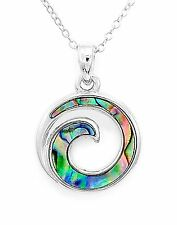 Spiral Wave Pendant With Chain Natural Abalone Maori Koru Infinity