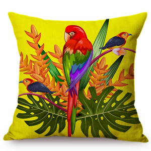 """Tropical Parrot Big leaf Perfect for Outdoor/Indoor Linen Throw Pillow 18"""" x 18"""""""
