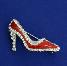 Shoe W Swarovski Crystal Princess Cinderella High Heels Shoes Brooch Red Pin