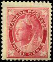 Canada #69 mint F-VF OG DG 1898 Queen Victoria 3c carmine Maple Leaf JUMBO