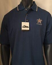 Tri-Mountain Men's Polo T-Shirt Cotton Polly Stripe Collar Blue Size Large L