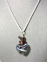 "Lampwork Glass Jar Necklace .925 Sterling Silver 18"" Chain. Purple Heart Pendant"