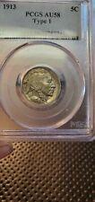 1913 Buffalo Nickel Type 1 PCGS AU58 Nice Color Tone Coin (Slab140)