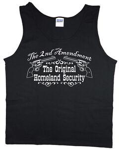 Men's tank top 2nd amendment gun rights decal design sleeveless tee muscle shirt