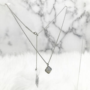 Kendra Scott Mallory Pendant Necklace in Gray Banded Agate and Rhodium Plated