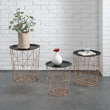 En.casa Metal Basket Side Coffee Couch Table Set of 3 Copper Nesting