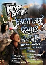 "EMMURE/ CARNIFEX ""NEVER SAY DIE TOUR 2013"" U.K. CONCERT POSTER -Deathcore Metal"