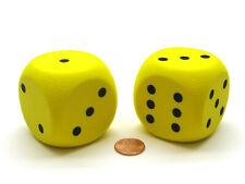 Pack of 2 50mm D6 Round Foam Dice Numbered 1 to 6 - Yellow with Black Spots