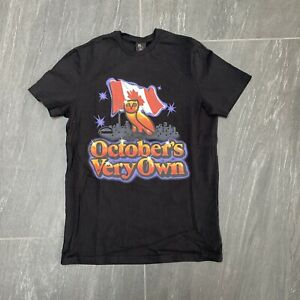Men's Octobers Very Own Canada & City Background T-Shirt Black Size Small