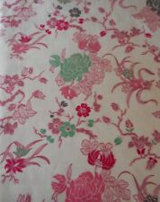 Vintage Chinoiserie Mum Blossom Floral Sateen Cotton Fabric ~ Pink Coral Green