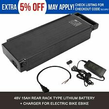 48V 15AH Lithium  Rack Mount Battery + Charger for 500W 750W 1000W Electric Bike