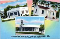 Claxton GA Edwards Tourist Court Roadside Motel Evans County 1940 Linen Postcard