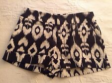 New Forever 21 Women Ikat Printed Cotton Shorts In Black & White SZ S