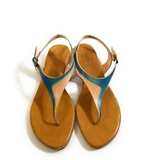 New Coclico Women Blue Brown Leather Flats Ankle Strap Sandals Thong Shoes Sz 40