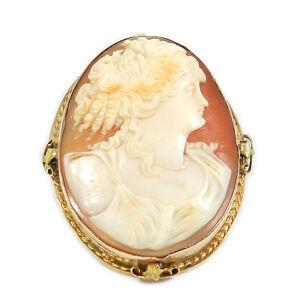 Große Antike Gemme als Brosche & Anhänger in 14 K Gold Cameo Brooch um 1840/60