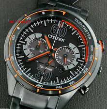 NEW CITIZEN ECO-DRIVE MEN'S WATCH CA4125-56E CHRONO BLACK/ORANGE DIAL 'US SELLER
