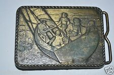 Vintage Aged Worn Sailing Nautical Boating Brass Belt Buckle RARE
