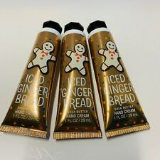 3 Bath & Body Works Iced Gingerbread Shea Butter Hand Cream Lotion 1 oz Tubes