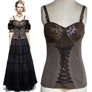 New PUNK RAVE Gothic Steampunk Coffee Brown Sleeveless Gear Top Y-727 FAST POST